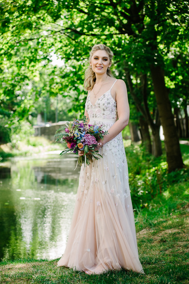 Bridal Portrait by the banks of the Grand Canal in Dublin