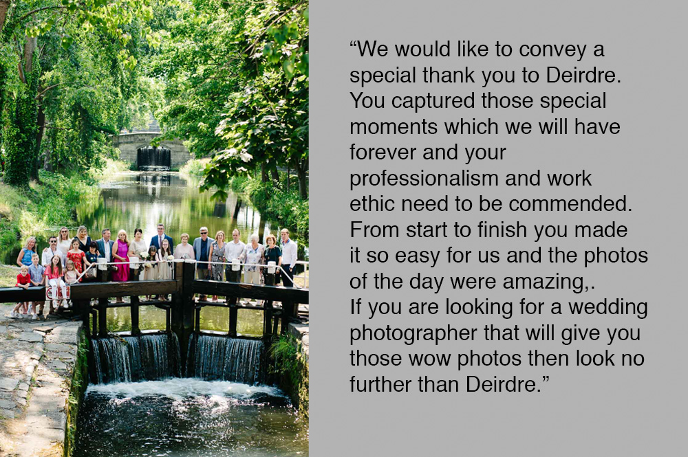 Dublin Wedding Photographer photographs wedding guests on the locks of the Grand Canal