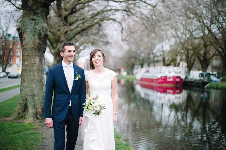 Wedding Photo by the banks of the Grand Canal in Dublin