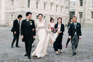 Wedding photography in the grounds of Trinity College in Dublin City