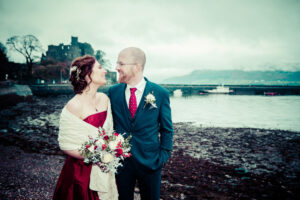 The bride and groom pictured at their Carlingford micro wedding