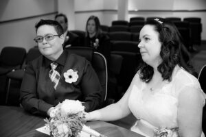 A couple photographed during their Dublin Registry Office LGBT Wedding Ceremony