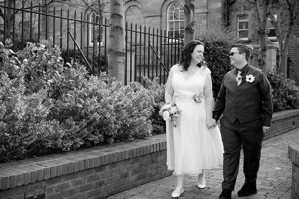 A couple photographed leaving the Dublin registry office after their LGBT Registry Office Wedding