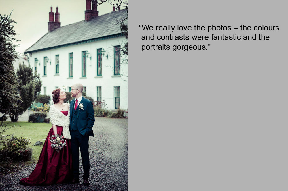 Micro wedding photographer photographs the bride and groom in front of Ghan House in Carlingford
