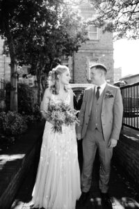 The bride and groom pictured at their Registry Office Micro Wedding