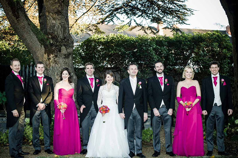 Bridal party photograph in the grounds of Clontarf Castle