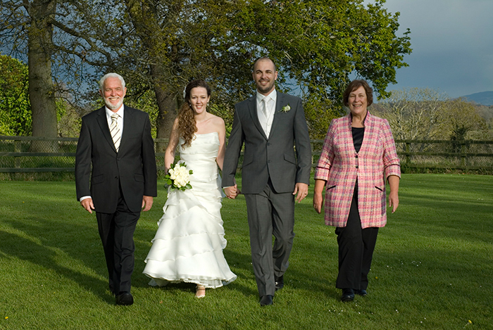Family Wedding Portrait in the grounds of Leixlip Manor