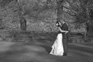 Portrait-of-the-bride-and-groom-kissing-in-the-grounds-of-Leixlip-Manor