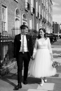Registry Office Photography of the bride and groom walking through Georgian Dublin following their Registry Office wedding