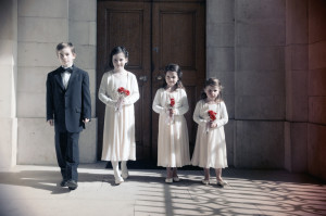 Photograph of Flowergirls at Trinity College Chapel