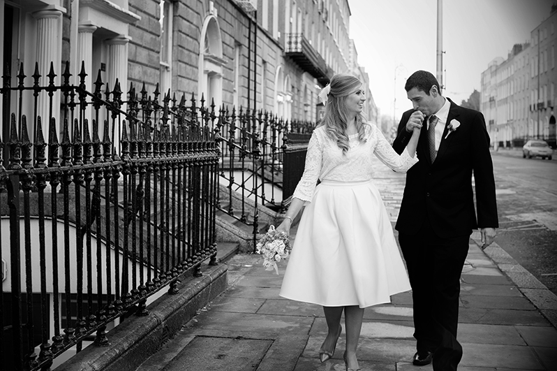 Wedding photograph in the city centre of Dublin