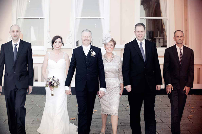 Wedding photograph outside The Royal Marine Hotel in Dun Laoghaire
