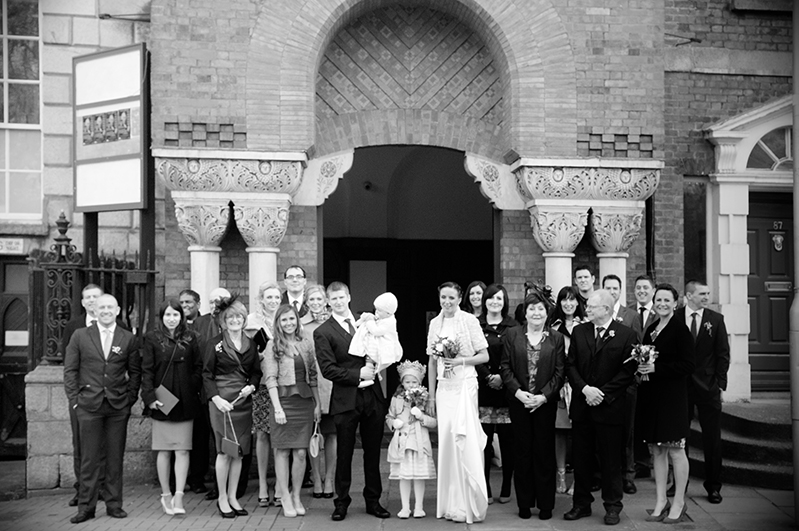 Wedding Photograph outside Newman University Church Dublin