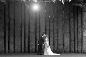 The bride and groom pose in St. Stephen's Green for a Fallon & Byrne Wedding Photo
