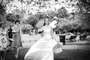 The bride pictured in St. Stephen's Green in Dublin before her Fallon & Byrne Wedding Reception