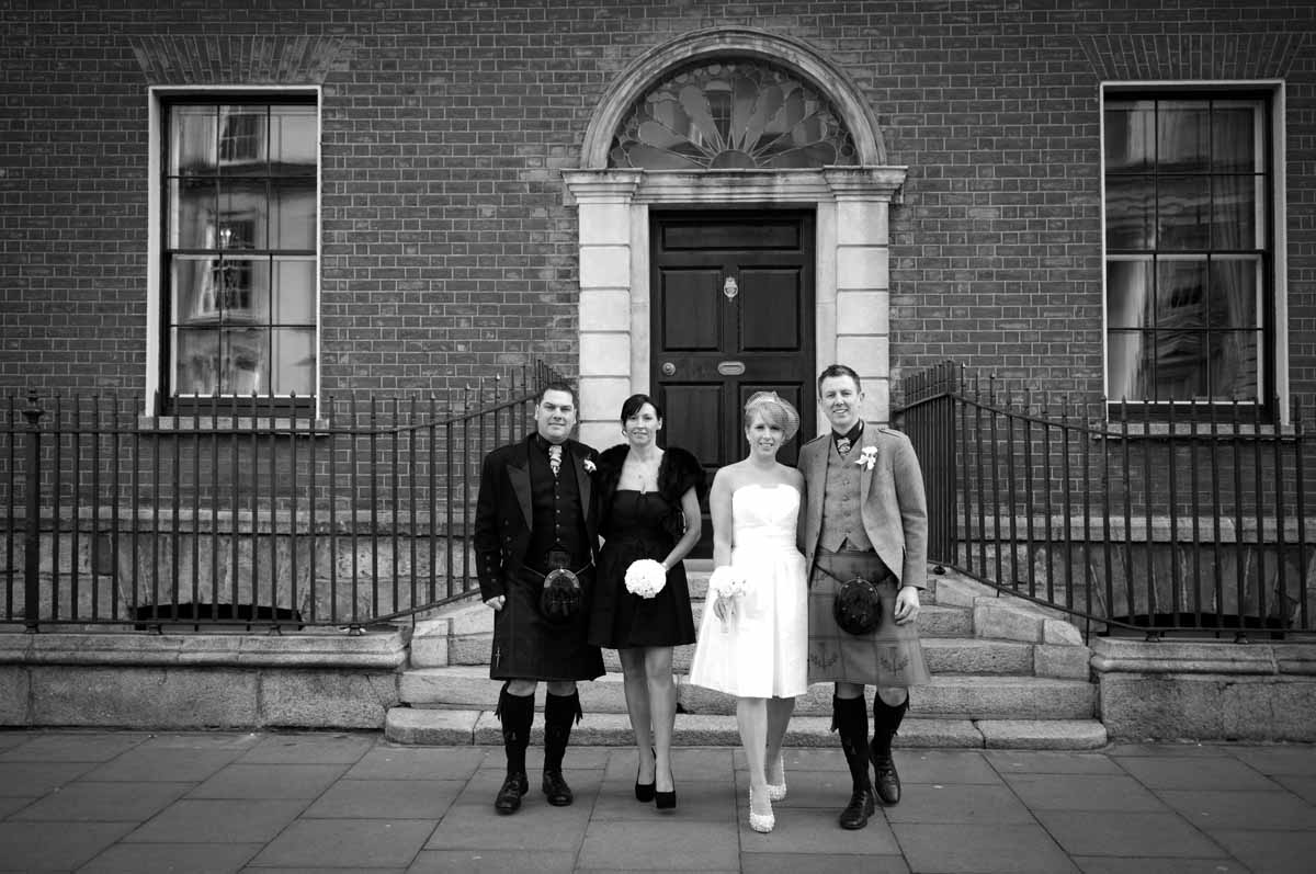 Dublin City Centre Wedding Photograph in front of a Georgian Building