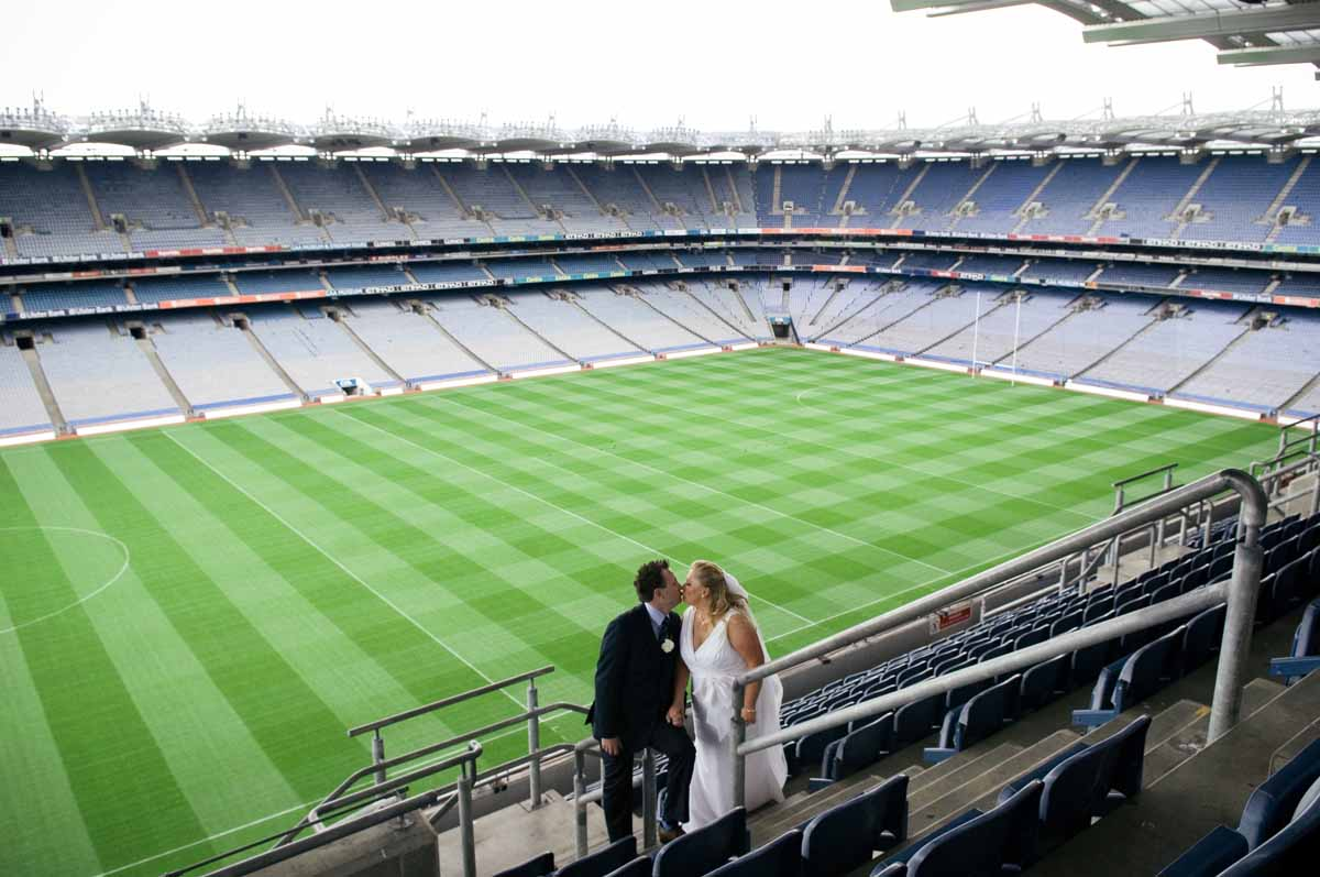 Croke Park Wedding Photograph in the stadium stands
