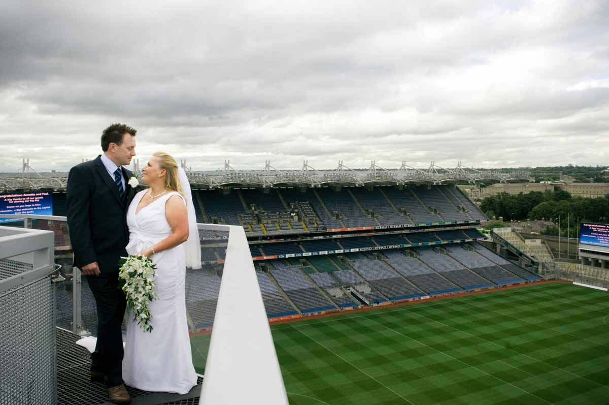 A Croke Park Wedding Photograph on the Skyline above the stadium