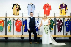 Croke Park Wedding Photo in the stadium changing rooms.