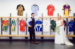 Croke Park Wedding Photo in the changing rooms at the stadium