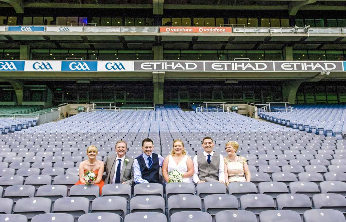 Croke Park Wedding Photograph in the stands at the stadium