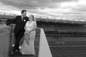 Croke Park Wedding Photograph on the Skyline above the stadium