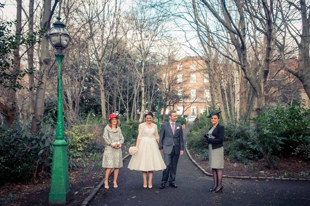 Registry Office Wedding Photography in Merrion Square Park