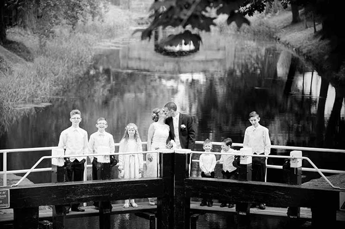 A Registry Office Wedding Photograph by the Grand Canal in Dublin