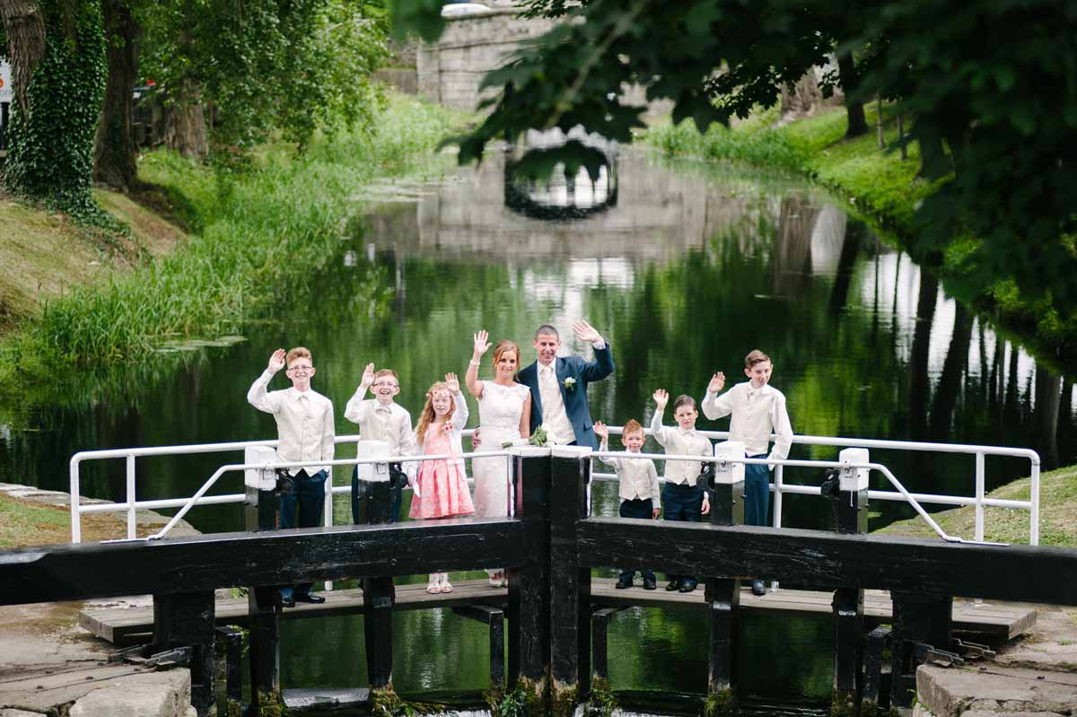 Registry Office Wedding Photography on the banks of the Grand Canal in Dublinin Dublin