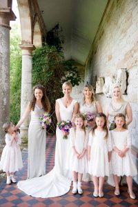 Castle Leslie Wedding photograph of the bride with her bridesmaids and flower girls.