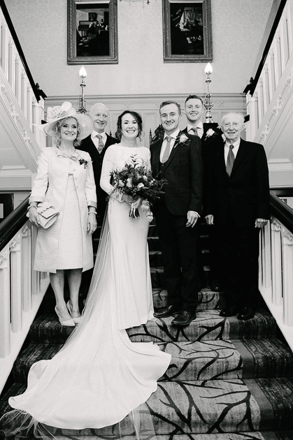 Family wedding portrait in Clontarf Castle