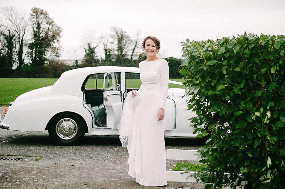 The bride getting ready to leave for her Clontarf Castle Wedding
