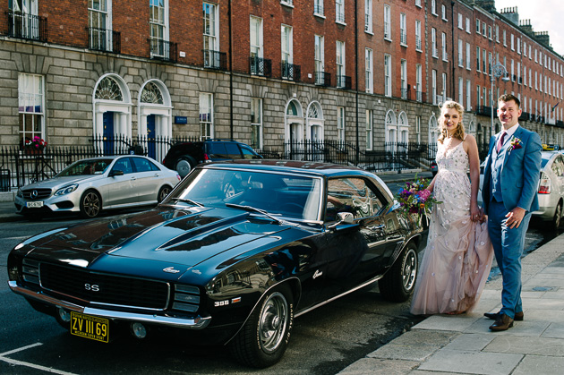 The bride and groom pictured in Dublin following their registry office wedding