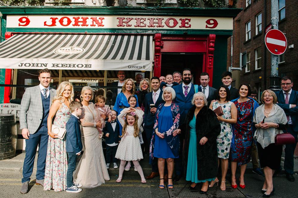 Family wedding photo outside Kehoe's in Dublin