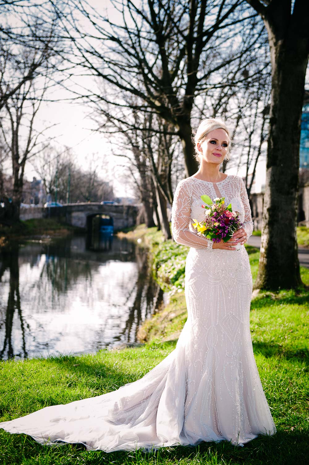 Wedding photo on the banks of the Grand Canal in Dublin