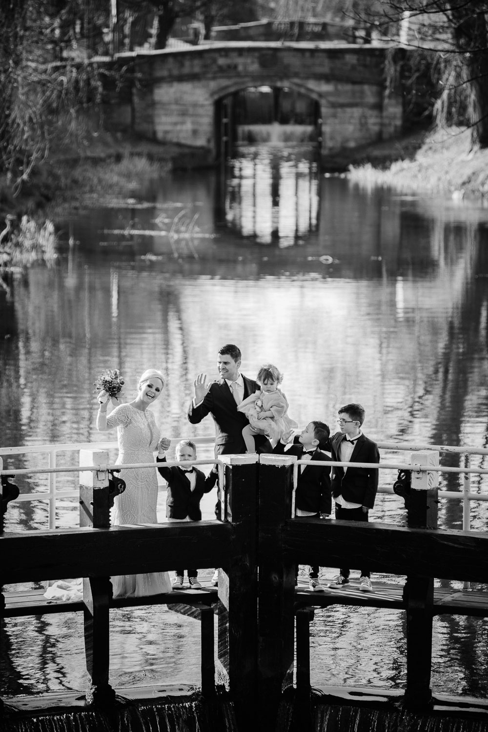Family wedding portrait on the locks crossing the Grand Canal in Dublin