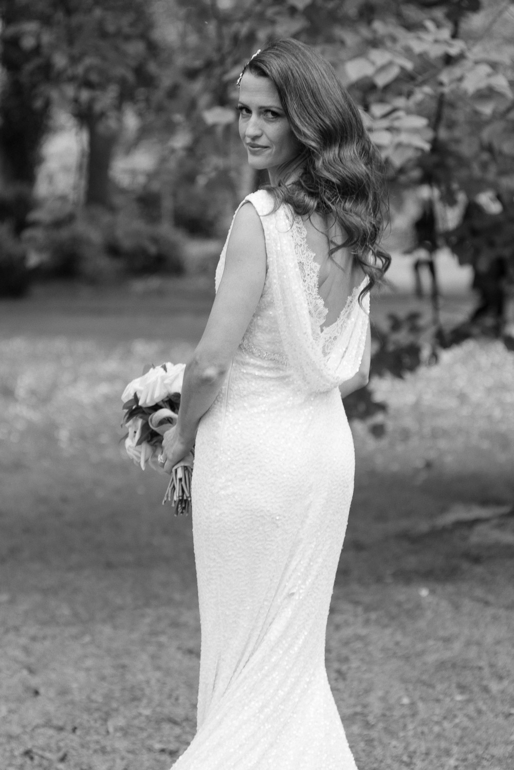The bride poses for a wedding portrait during her Shelbourne Hotel Wedding