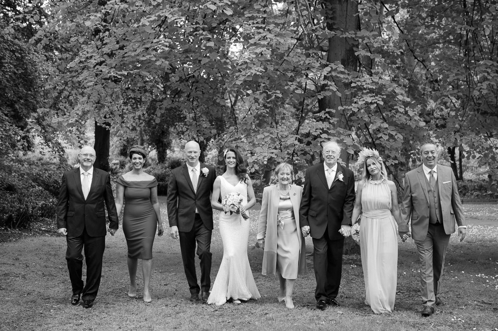 The bridal party pictured in a Shelbourne Hotel Wedding Photo in St. Stephen's Green in Dublin.