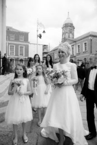 The bride arrives for her City Hall Wedding in Dublin