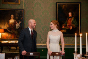 The bride and groom pictured in the Constitution Room in a Shelbourne Hotel Wedding Photo