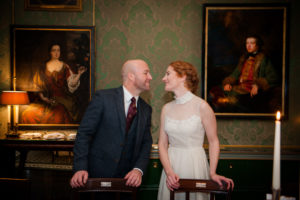 The bride and groom pictured in Shelbourne Hotel Wedding Photograph