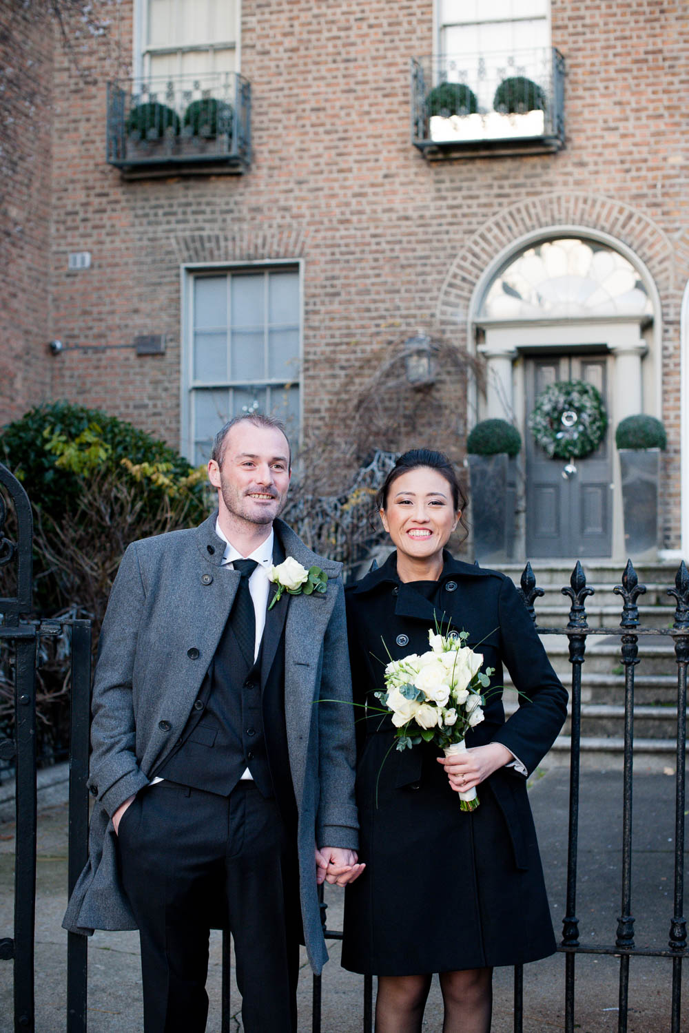The bride and groom in a Dublin Registry Office Wedding Photo