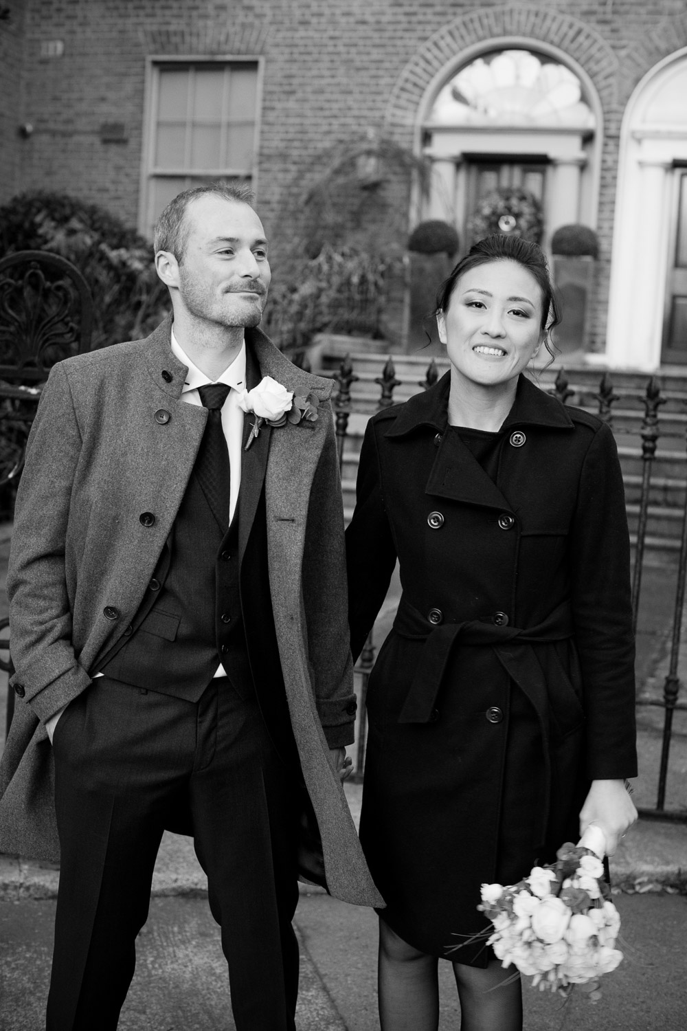 The bride and groom by the Grand Canal following their Dublin Registry Office Wedding