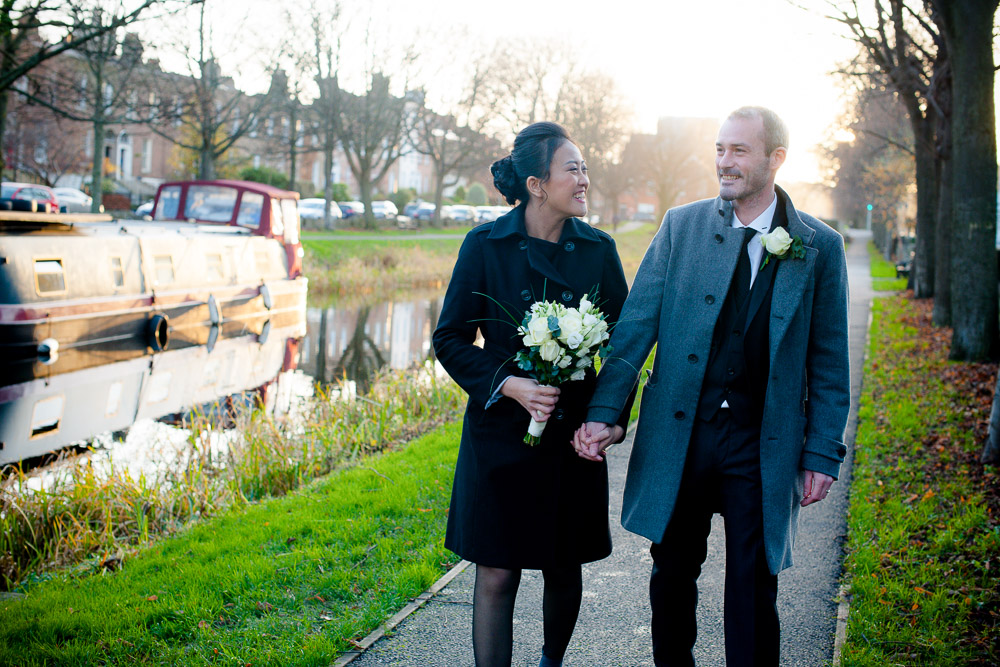 Registry Office Wedding Photo of the couple by the Grand Canal