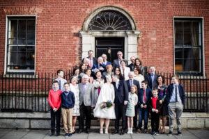 A Dublin Registry Office Wedding Group Photograph