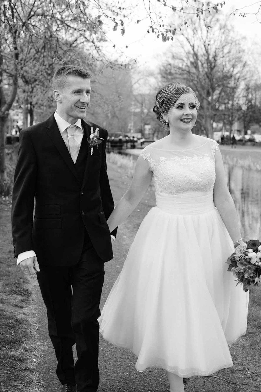 A Registry Office Wedding Photo on the banks of the Grand Canal in Dublin