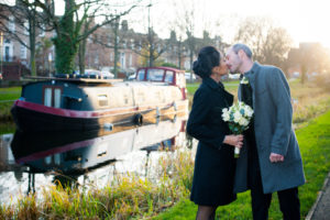 Dublin city centre wedding photography on the banks of the Grand Canal in Dublin