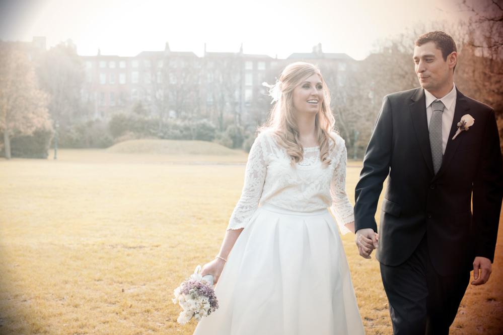 Dublin City Centre Wedding Photograph in Merrion Square