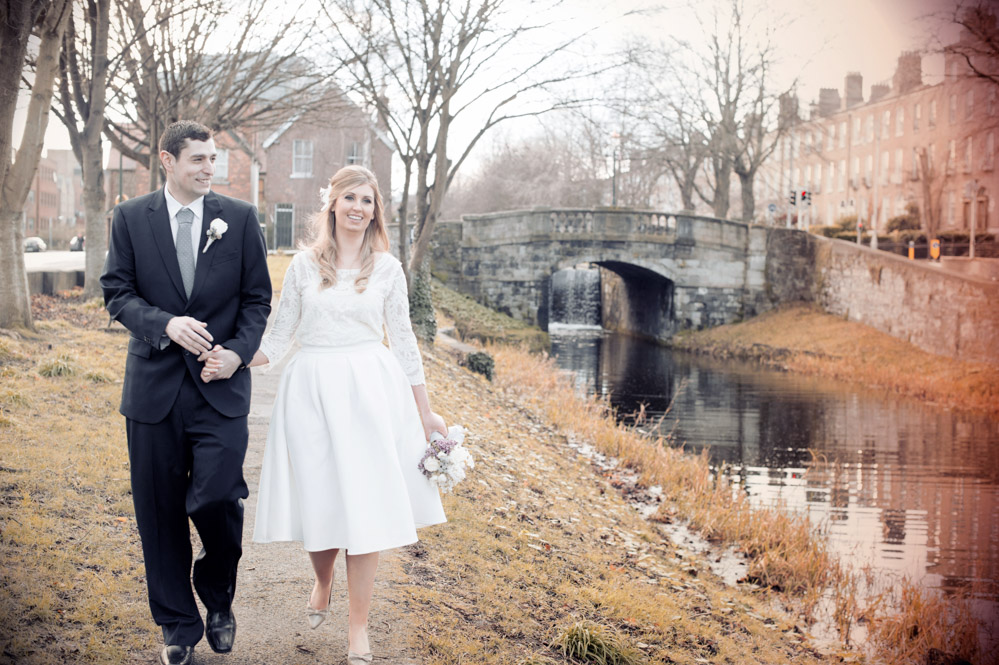 Dublin city wedding photograph by the banks of the Grand Canal in Dublin