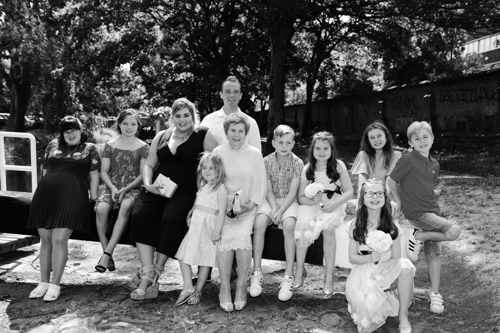 Registry Office Wedding Family Portrait on the banks of the Grand Canal in Dublin